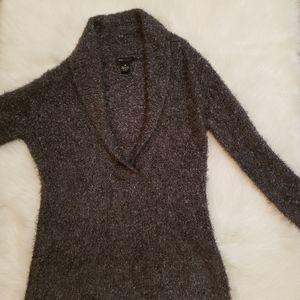 BCBG Max Azria Fuzzy Gray V Neck Sweater